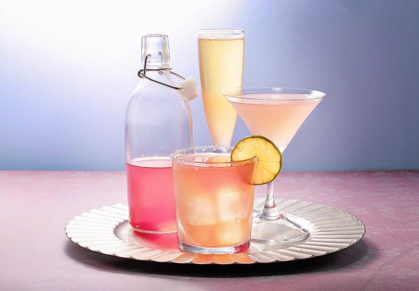 Homemade rhubarb syrup was used to make these three cocktails: Rhubarb Cosmo, Rhubarb Bellini, Rhubarb Margarita.
