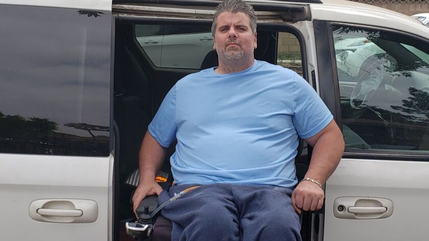North Hills resident Harlan Hobbs, 45, who is paralyed from the chest down, had his AAA membership c