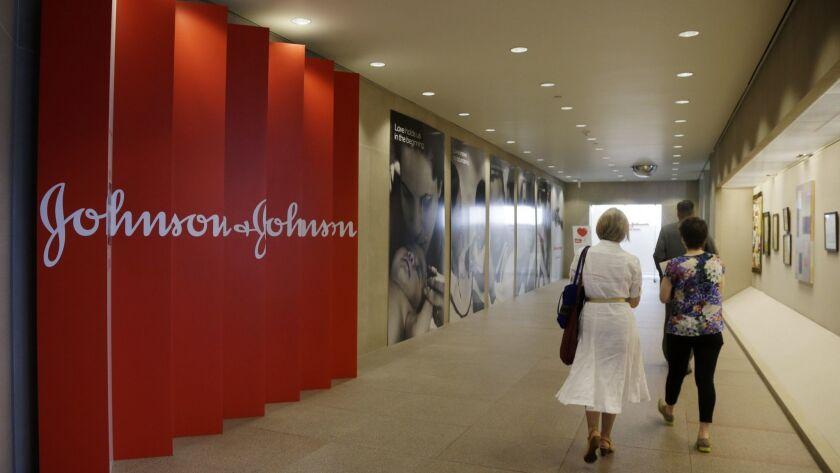 A corridor at the headquarters of Johnson & Johnson in New Brunswick, N.J.