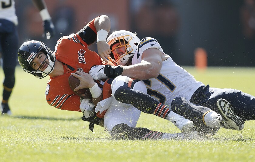 Chargers defensive end Joey Bosa sacks Chicago Bears quarterback Mitchell Trubisky.