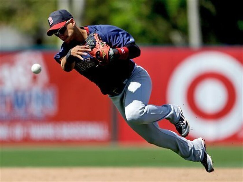 Boston Red Sox's Jose Iglesias throws to first base as Minnesota Twins' Justin Morneau grounds out in the fourth inning of a spring training exhibition baseball game, Thursday, March 14, 2013, in Fort Myers, Fla. (AP Photo/David Goldman)