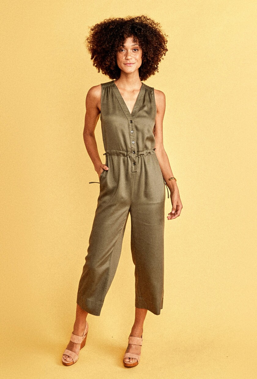 Made from sand-washed Tencel, this jumpsuit is produced during a closed-loop manufacturing process f