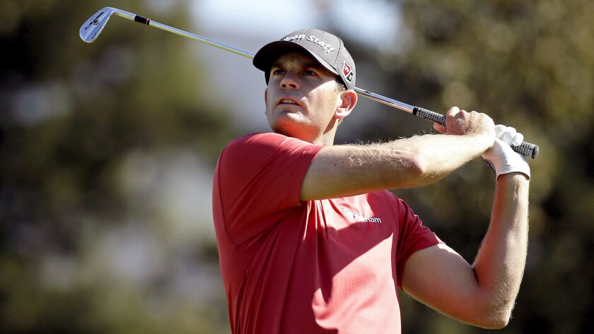 Brendan Steele watches his shot from the second tee during the second round of the Frys.com Open in Napa, Calif.