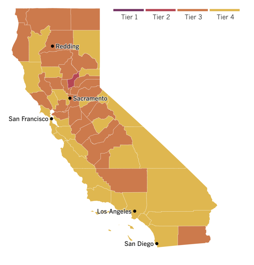 A map of California counties' tier assignments at the time of the state's reopening on June 15, 2021.