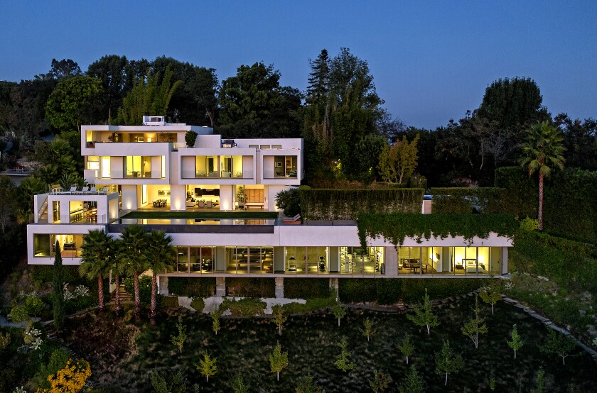 Called the Ledge House, the Bel-Air contemporary is on a roughly one-acre landscaped hillside as a series of ledges.