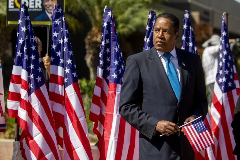 Larry Elder in Monterey Park Sept. 13, the day before the end of California's recall voting.