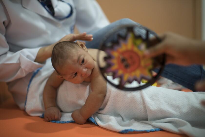 En esta imagen de archivo Daniel, de tres meses y que nació con microcefalia, recibe terapia física en la fundación Altino Ventura en Recife, Brasil. (AP Foto/Felipe Dana, Archivo)