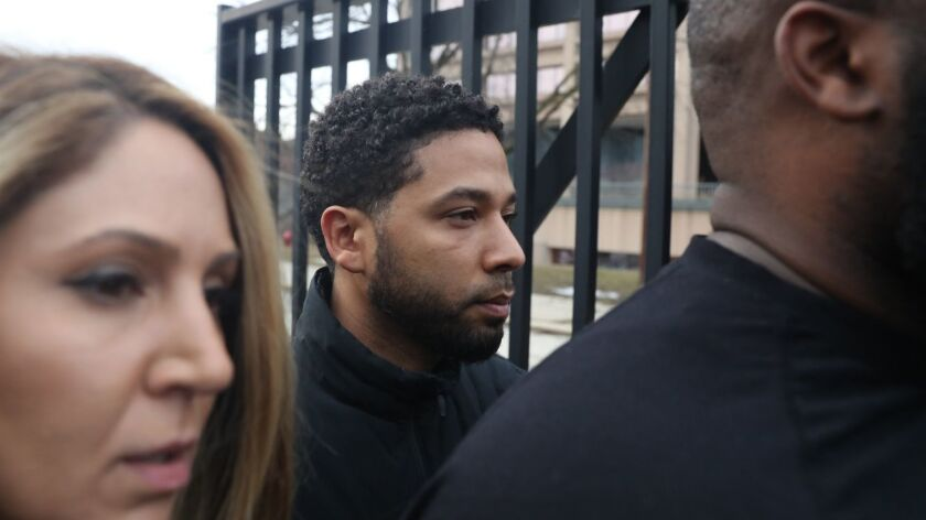 """After bonding out, """"Empire"""" actor Jussie Smollett leaves the Cook County Jail in Chicago, Feb. 21, 2"""