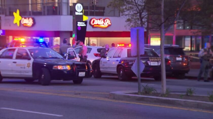 The slaying occurred just before 5 p.m. at the Wilshire/Normandie station in Koreatown.