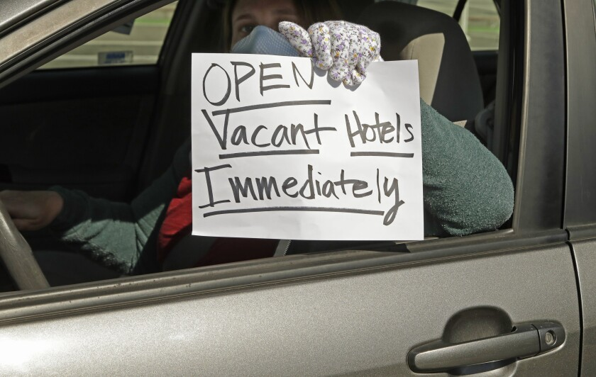 San Francisco protest calls for housing homeless people in hotels