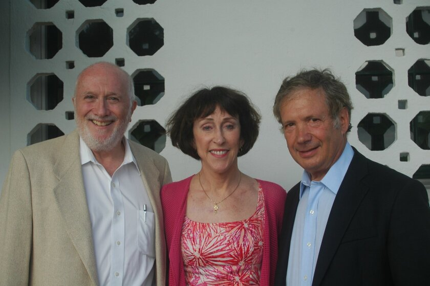 San Diego Opera interim artistic advisor Bill Mason, Opera Board of Directors president Carol Lazier and board member Thomas Shiftan at a cocktail party hosted by Shiftan and his wife, Maureen, on Aug. 18 at their seaside home in La Jolla.