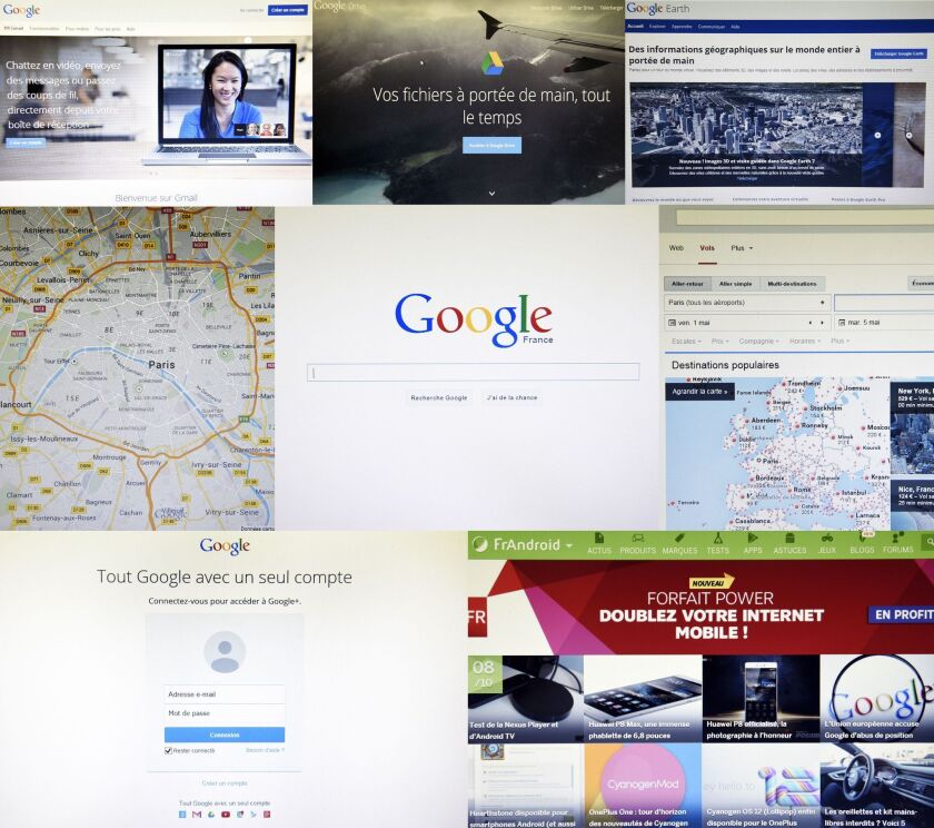 The various front pages of Google websites in France are shown in this image.