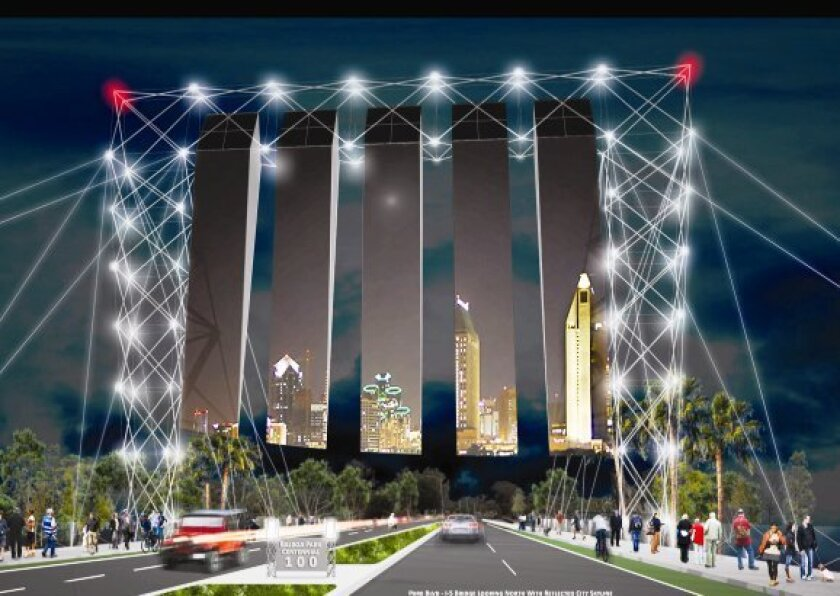 """""""Reflections""""; Metal framework at Interstate 5 and Park Boulevard holding large mylar film strips reflecting the city skyline on one side and the park on the other. """"Visitors traversing Reflections will immerse themselves in the moment of moving from the past to the present and on to the future o"""