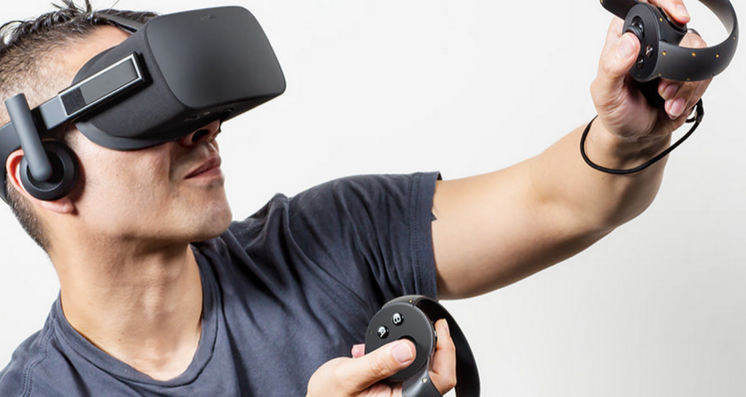 The consumer version of the Oculus Rift headset features built-in 360-degree audio headphones, a constellation tracking system, an external sensor and hand-tracking controllers.