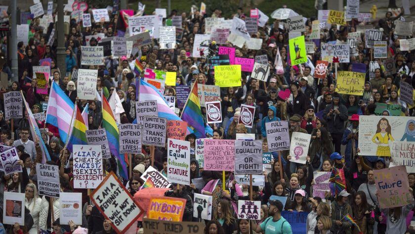 International Women's Day March Held In Los Angeles
