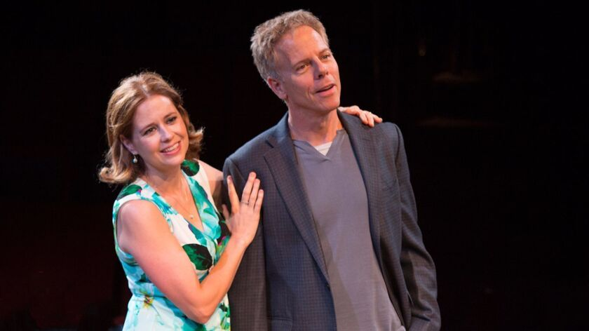 """Jenna Fischer as Corky and Greg Germann as Norm in the world premiere of Steve Martin's """"Meteor Shower"""" at the Old Globe Theatre."""
