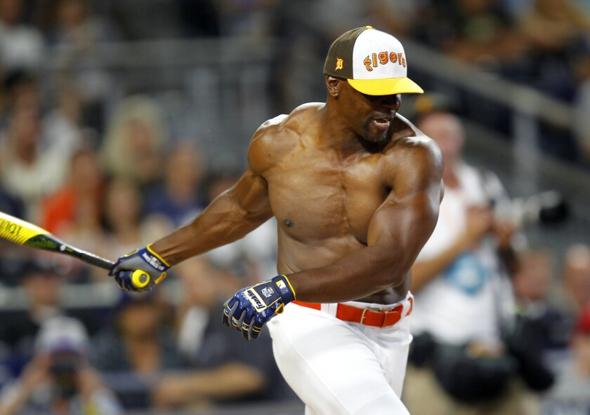 Terry Crews took off his shirt to bat at the All Star Legends and Celebrity Softball Game at Petco Park.