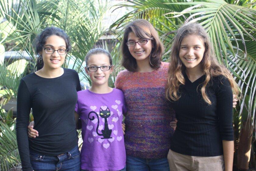 Isha Raj-Silverman, Emma Fish, Sofia Rodriguez and Amaya Duncan