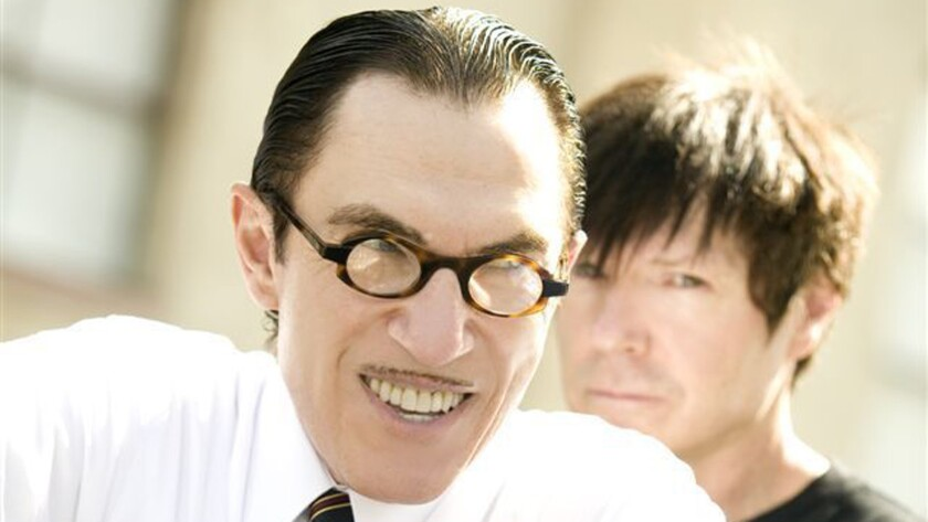 Ron Mael, left, and brother Russell Mael of L.A. pop duo Sparks, which performed the 1974 album 'Kimono My House' in its entirety over Valentine's Day weekend at the Theater at Ace Hotel in downtown Los Angeles.