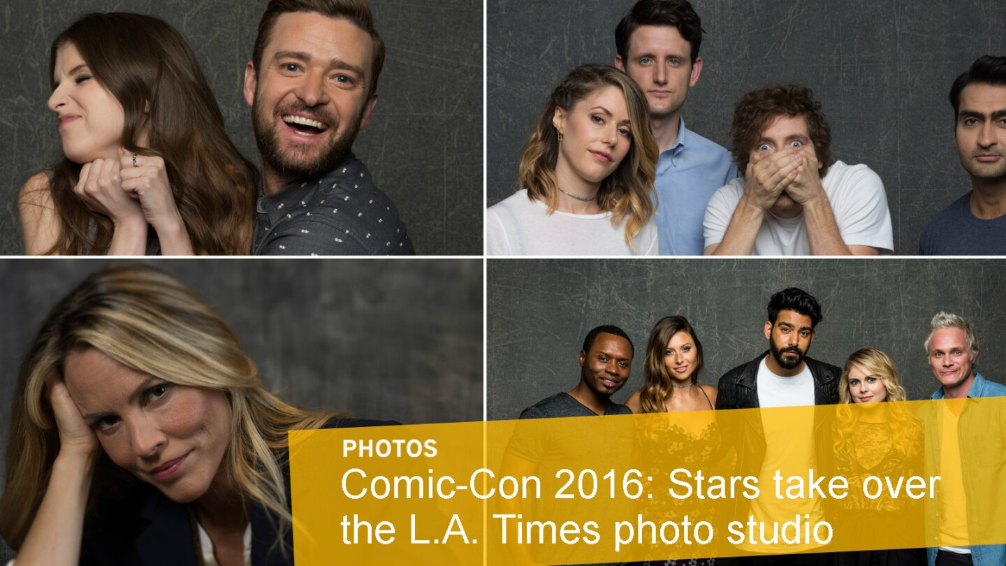 Celebrities in the L.A. Times photo studio at Comic-Con.