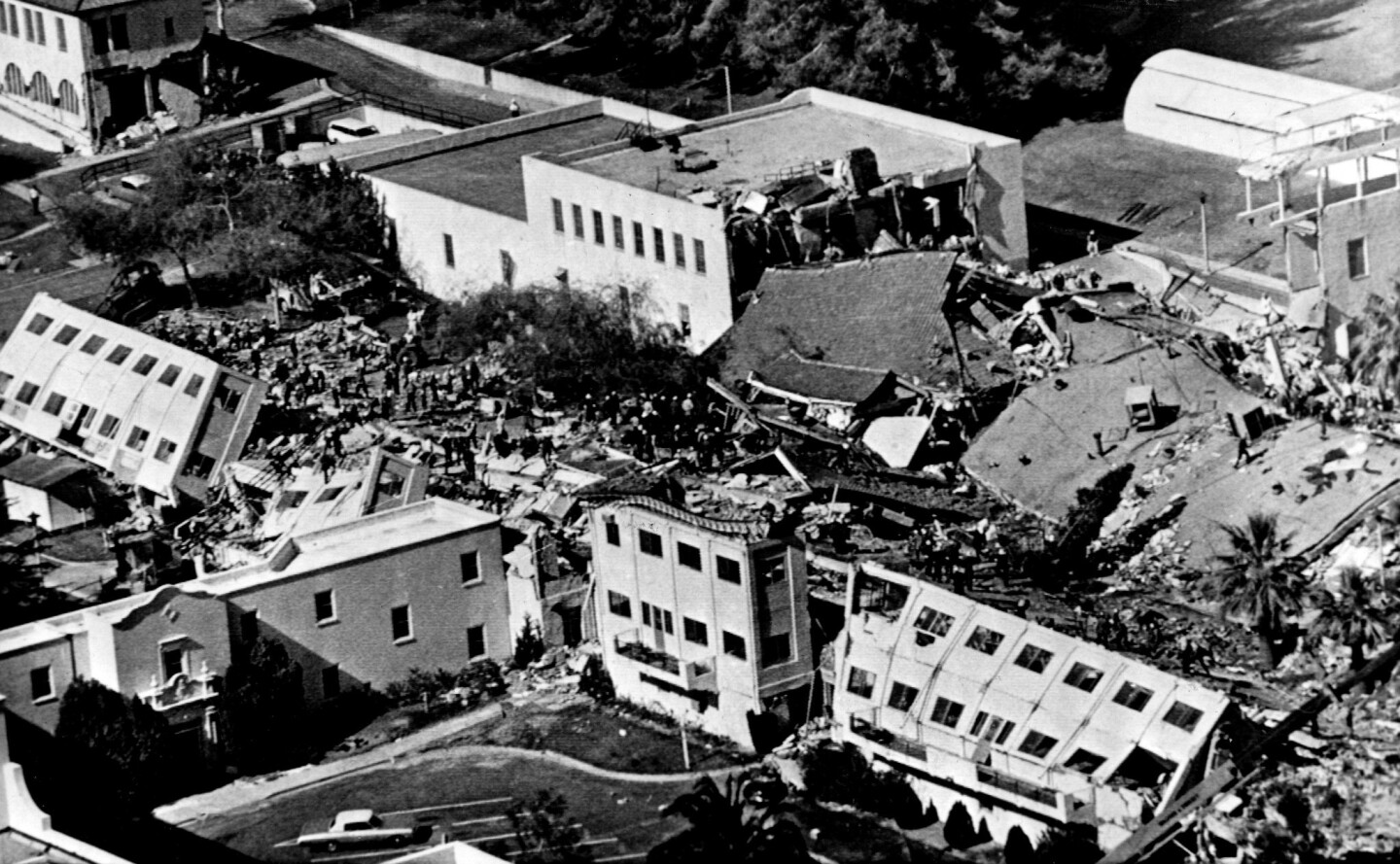Two three-story buildings collapsed at the San Fernando Veterans Administration Hospital, crushing many patients inside, from the 1971 Sylmar earthquake. The last body was pulled out of the rubble four days after the Sylmar earthquake.