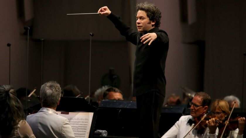 Gustavo Dudamel at the Hollywood Bowl on Thursday.