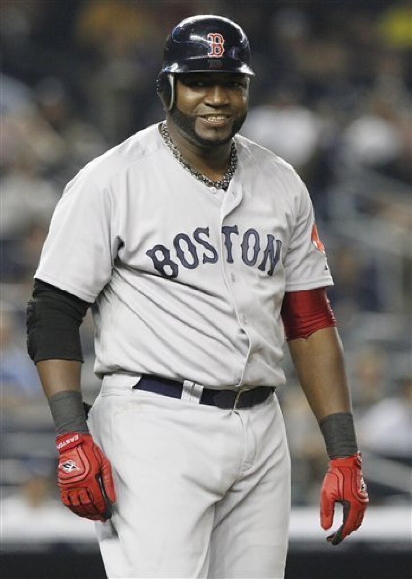 Boston Red Sox's David Ortiz reacts after being hit by a pitch during the fourth inning of a baseball game against the New York Yankees Thursday, June 9, 2011, at Yankee Stadium in New York. (AP Photo/Frank Franklin II)