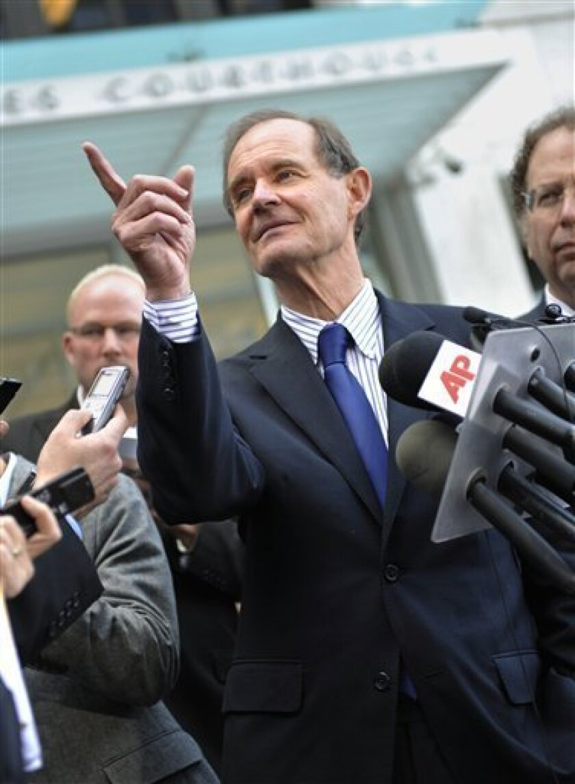 NFL attorney David Boies fields a question outside the federal courthouse after the NFL antitrust lockout hearing Wednesday, April 6, 2011, in St Paul, Minn. A group of football players is asking a judge to issue a preliminary injunction on the lockout the owners imposed after talks on a new collective bargaining agreement broke off three weeks ago. (AP Photo/Jim Mone)