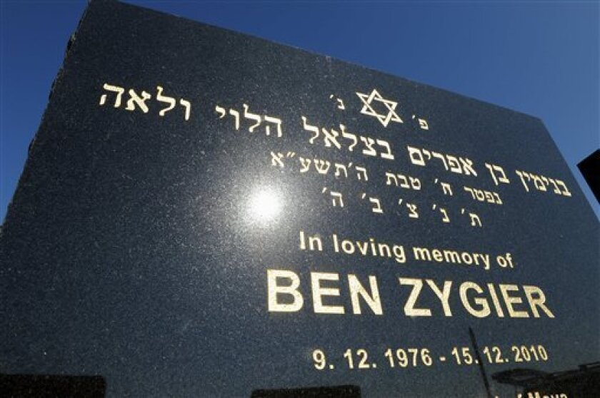 The tombstone of Ben Zygier stands at Chevra Kadisha Jewish Cemetery in Melbourne, Australia Friday, Feb 15. 2013. Foreign reports about the mysterious death of the Australian-born Israeli man who worked for Israel's Mossad spy agency and died in an Israeli prison two years ago have sparked a rare