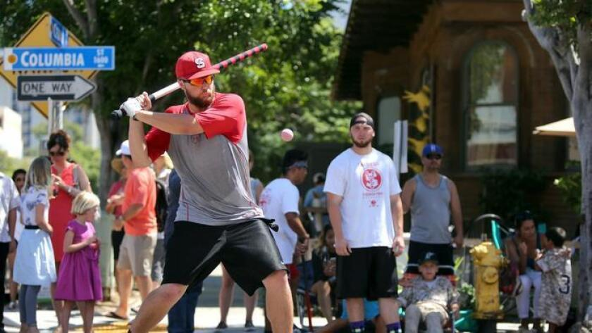 A group of native New Yorkers got together in San Diego 30 years ago to play a game from their youth: stickball. The group grew into a team, and the games turned into tournaments. Today, although the league is no more, the tournament continues in Little Italy. This weekend, nearly a dozen teams will compete for the top prize. Stop by and watch as the teams take their best swings. - Lisa Deaderick, U-T 8 a.m. to 5 p.m. Saturday and Sunday. India Street from Ash to A streets both days; Columbia Street from Beech to Cedar streets on Sunday. littleitalysd.com (/ UT San Diego)