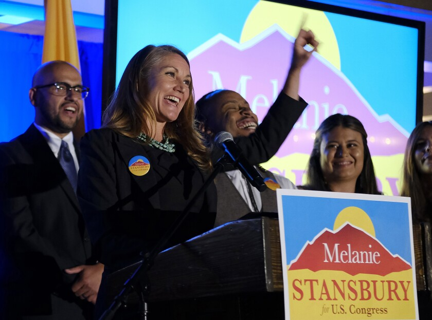 Melanie Stansbury addresses supporters at the Hotel Albuquerque, Tuesday, June 1, 2021, in Albuquerque, N.M., after winning the election in New Mexico's 1st Congressional District race to fill former U.S. Rep. Deb Haaland's seat. Haaland resigned her seat to become U.S. Secretary of the Interior. (Adolphe Pierre-Louis/The Albuquerque Journal via AP)