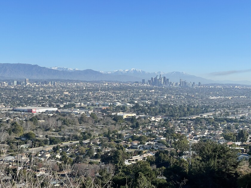 A photo of the view looking inland, in winter, from the Inspiration Point in Kenneth Hahn State Recreation Area.