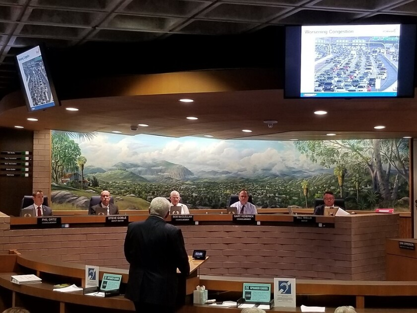 Hasan Ikhrata, executive director of SANDAG, talks to the El Cajon City Council on Tuesday about the regional agency's vision that will emphasize public transportation in San Diego County.