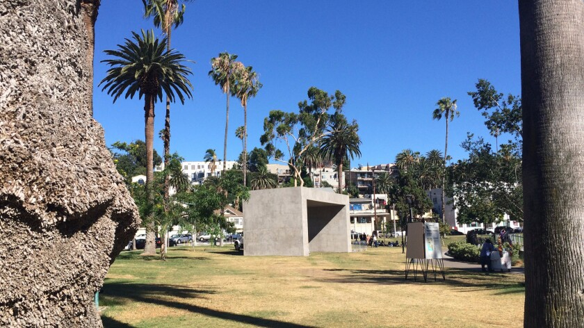 """Margolles' monument """"La Sombra (The Shadow)"""" as seen in Echo Park."""