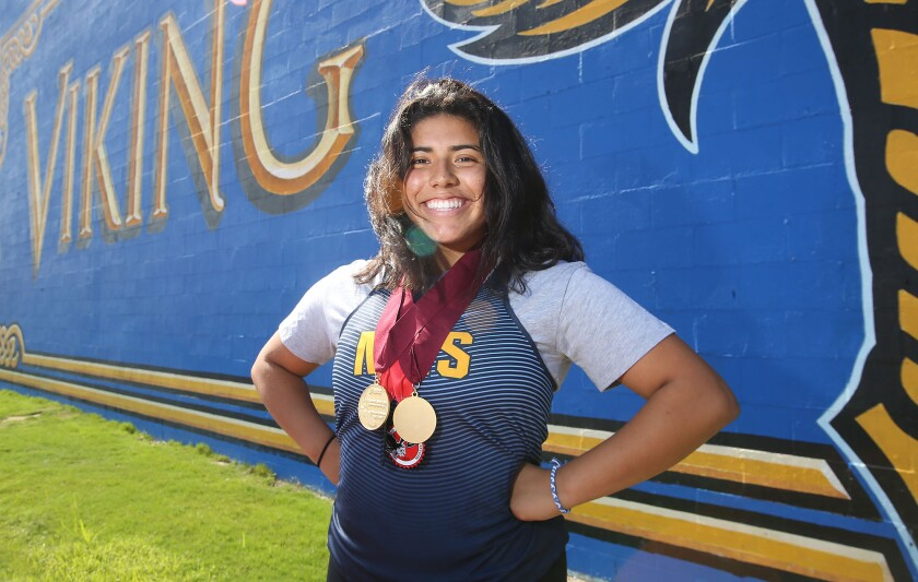 Daily Pilot Girls' Track and Field Dream Team: Alejandra Rosales next in Marina's throwing pipeline