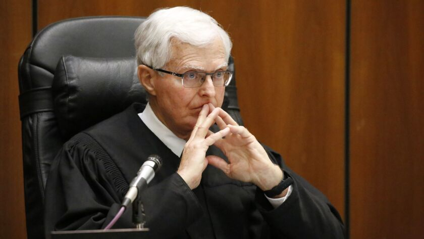 LOS ANGELES, CA - JUNE 5, 2017 -- Los Angeles Superior Court judge Robert J. Perry, listens as attor
