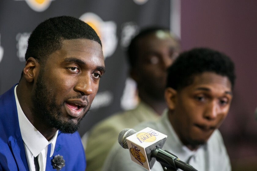 Roy Hibbert is introduced at the Lakers' training facility in El Segundo, Calif. on July 22.