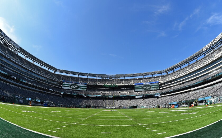 MetLife Stadium has displays for the Jets and Giants, unlike Giants Stadium when the Jets were strictly tenants.