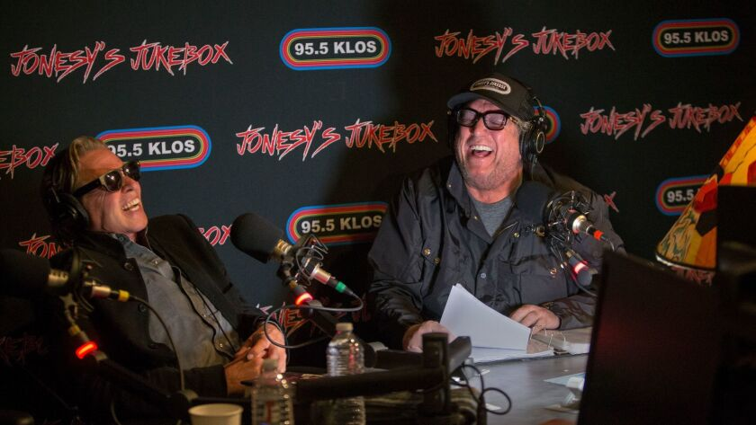 Steve Jones, right, at his show Jonesy's Jukebox on KLOS with guest Val Kilmer.