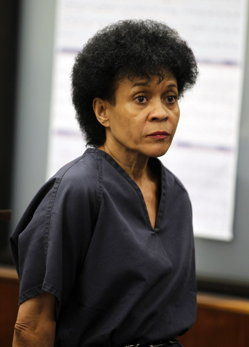 Regina Renee Johnson appears in court for her arraignment on Wednesday, where she pleaded not guilty for the murders of her husband and daughter in San Diego, California.