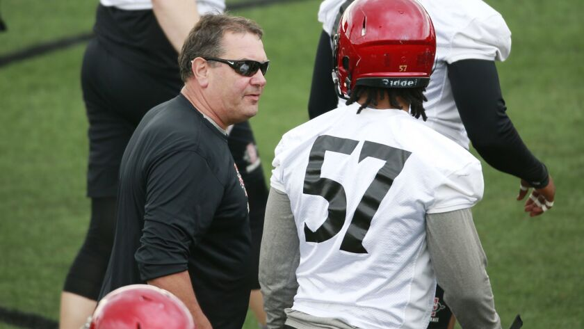 San Diego State defensive line coach Brady Hoke talks with sophomore Keshawn Banks on Monday afternoon during SDSU's first spring practice.
