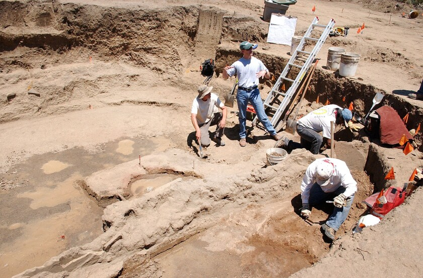 An excavation at a dig site in Colorado.
