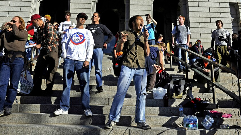 Students rally in Denver in 2011 to protest high education debt.