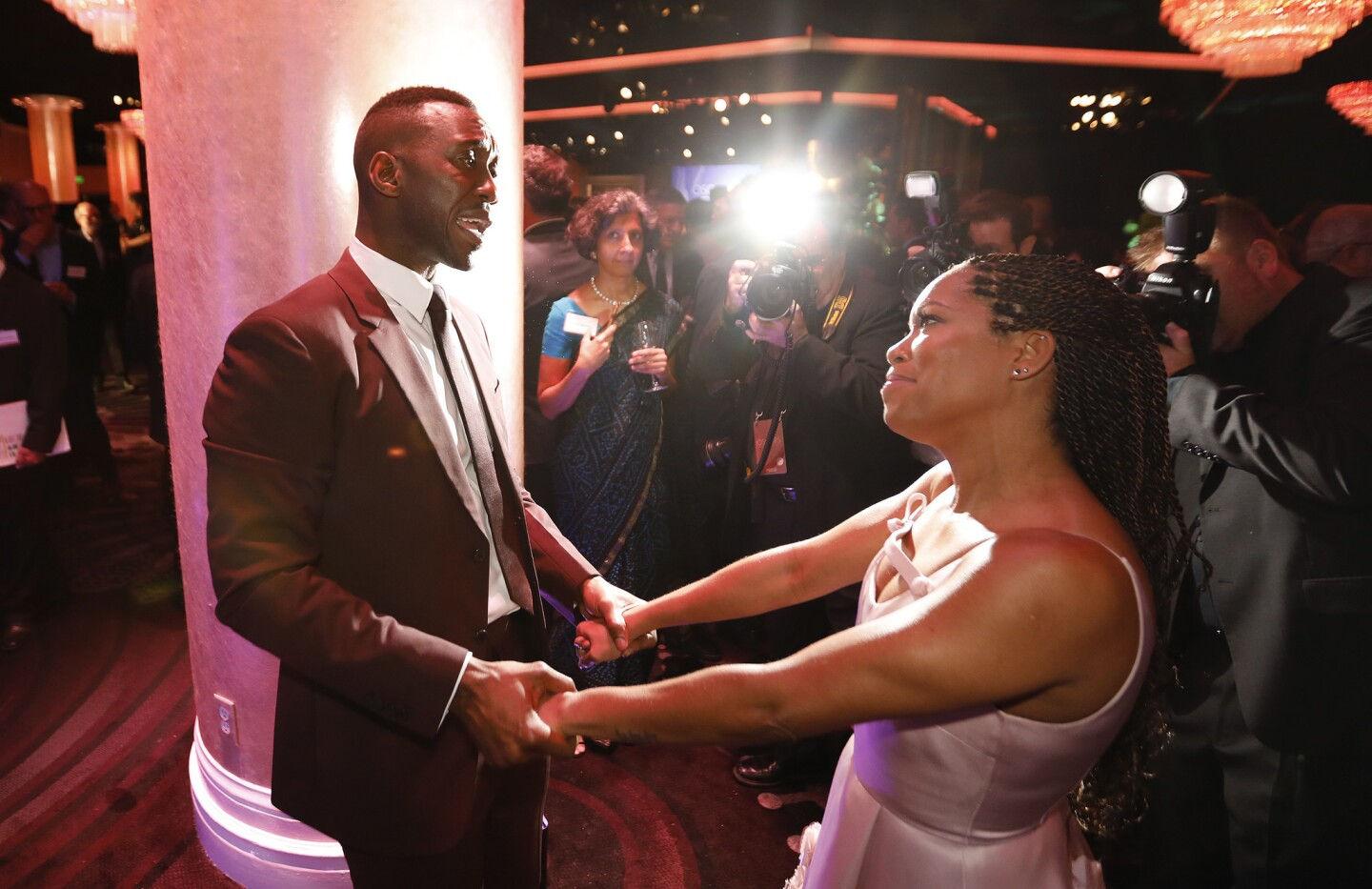 Supporting actor and actress nominees Mahershala Ali and Regina King visit during the nominees luncheon for the 91st Oscars at the Beverly Hilton Hotel in Beverly Hills on Feb. 4, 2019.