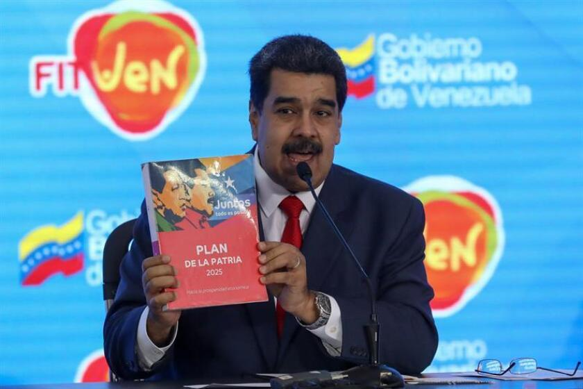 El presidente de Venezuela, Nicolás Maduro, participa en la clausura de la Feria Internacional de Turismo Fitven 2018, hoy en Caracas (Venezuela). EFE