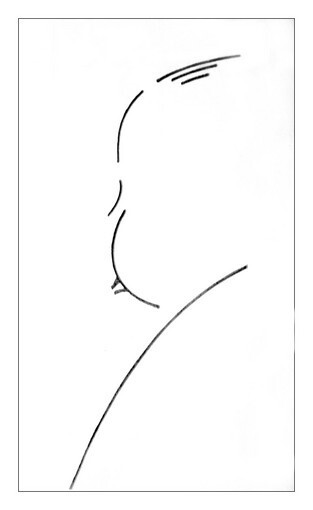 "This minimalist line drawing of Alfred Hitchcock's profile was done in 1959 and used as the logo for the director's TV series, ""Alfred Hitchcock Presents."""