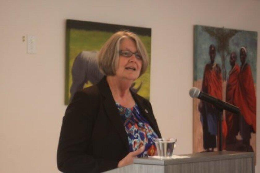 Sherri Lightner answers questions from constituents at the La Jolla Community Center. Ashley Mackin