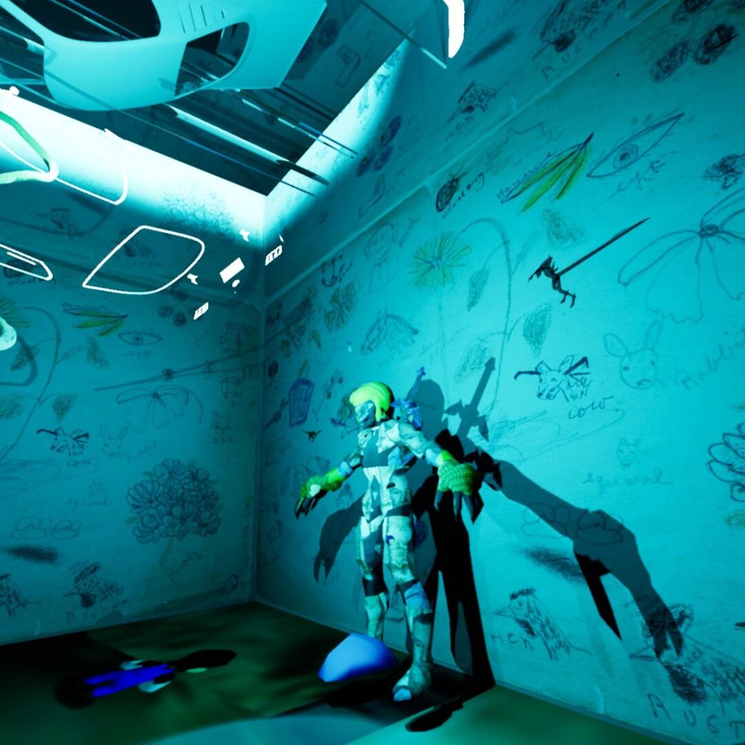 "A still from Keith Tolch's VR artwork, ""Glass Bottom Brain"""