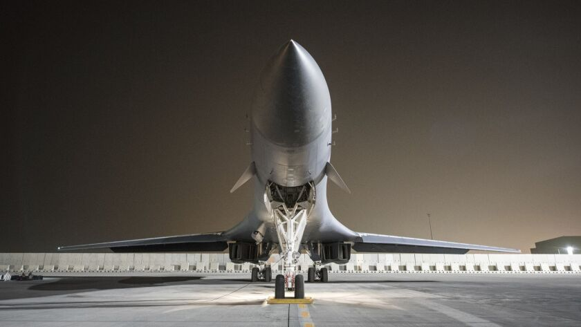 A 34th Expeditionary Bomb Squadron B-1B Lancer prepares for a strike on Syria.