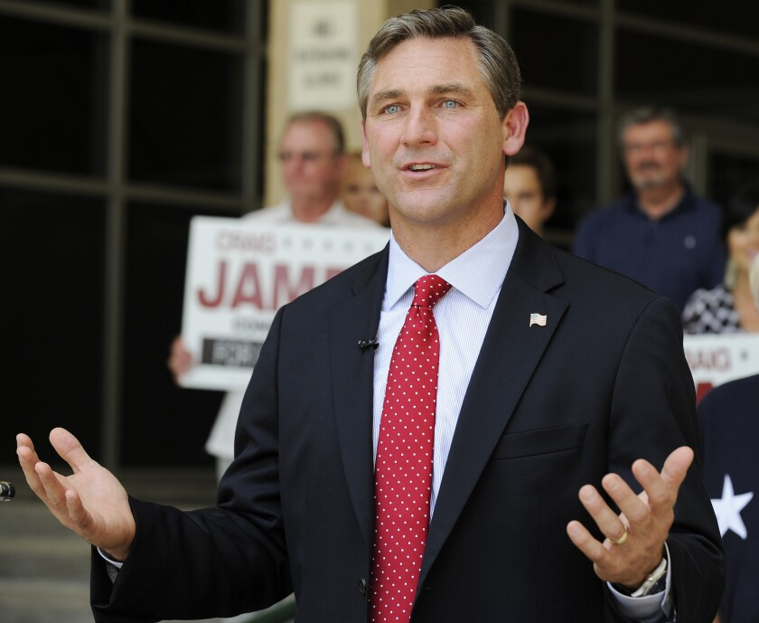 Craig James campaigns in Houston for a seat in the U.S. Senate in 2012.